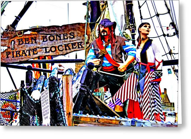 Rag Lady Greeting Cards - The Pirate of Penzance and his Wife Greeting Card by Terri  Waters