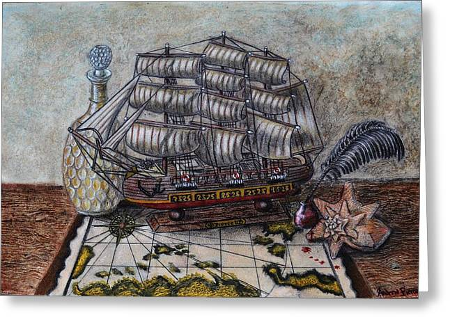 Sailing Ship Pastels Greeting Cards - The Pirates Desk Greeting Card by Andrew Pierce