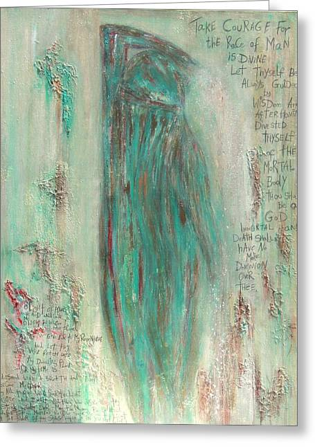 Recently Sold -  - Religious Mixed Media Greeting Cards - The Pistis Sophia Veiled Greeting Card by Talvi Winter