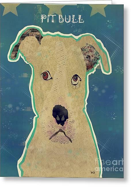 Pit Bull Digital Art Greeting Cards - The Pit Bull Dog  Greeting Card by Bri Buckley