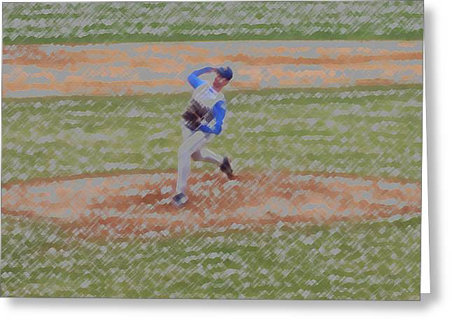 Softball Mitt Greeting Cards - The Pitcher Digital Art Greeting Card by Thomas Woolworth