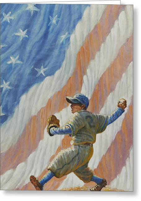 Baseball Uniform Digital Art Greeting Cards - The Pitcher Greeting Card by Gregory Perillo