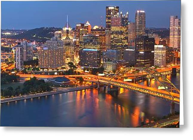 The Pittsburgh Blues Panorama Greeting Card by Adam Jewell