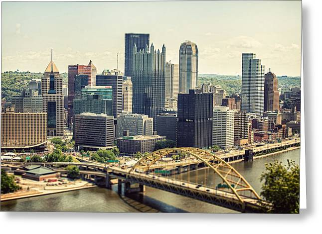 Lisa Russo Greeting Cards - The Pittsburgh Skyline Greeting Card by Lisa Russo