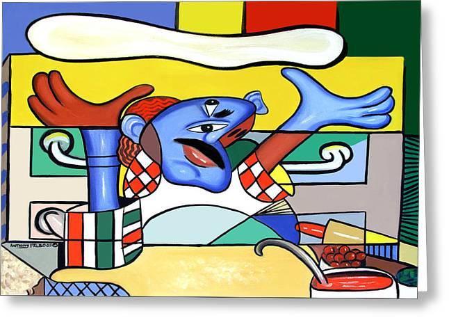 Italian Food Greeting Cards - The Pizza Guy Greeting Card by Anthony Falbo