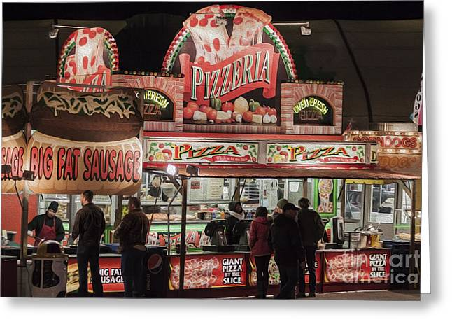 The Pizzeria in Neon Greeting Card by Janice Rae Pariza