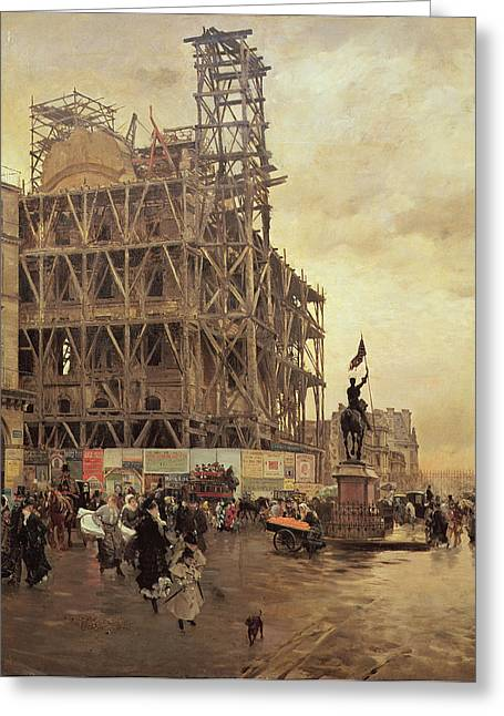 Rue Greeting Cards - The Place Des Pyramides, Paris, 1875 Oil On Canvas Greeting Card by Giuseppe or Joseph de Nittis