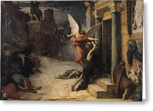 Night Angel Greeting Cards - The Plague In Rome, 1869 Oil On Canvas Greeting Card by Jules Elie Delaunay