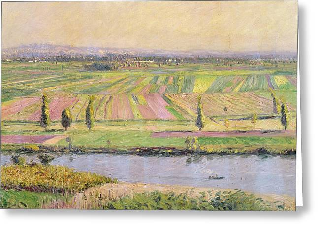 Haut Paintings Greeting Cards - The Plain of Gennevilliers from the Hills of Argenteuil Greeting Card by Gustave Caillebotte