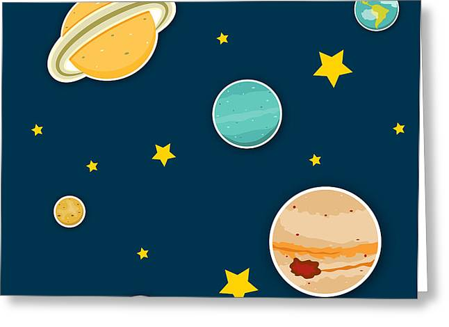 The Planets  Greeting Card by Christy Beckwith