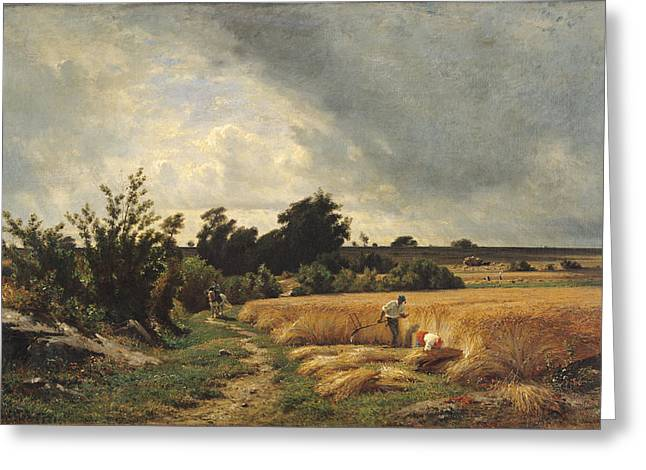 The Plateau Of Ormesson - A Path Through The Corn Oil On Canvas Greeting Card by Francois Louis Francais