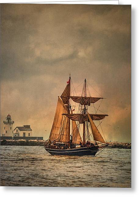 Wooden Ship Greeting Cards - The Playfair Greeting Card by Dale Kincaid