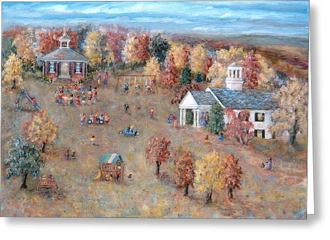 Old School Houses Paintings Greeting Cards - The Playground at Deep Run Greeting Card by Pamela Parsons