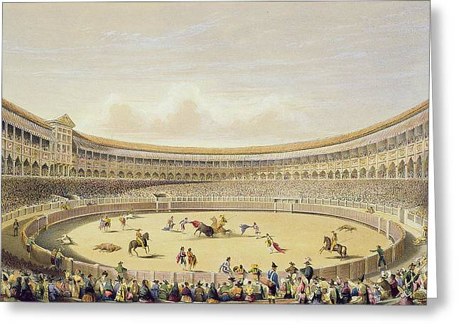 Bullfight Greeting Cards - The Plaza De Toros Of Madrid, 1865 Greeting Card by William Henry Lake Price