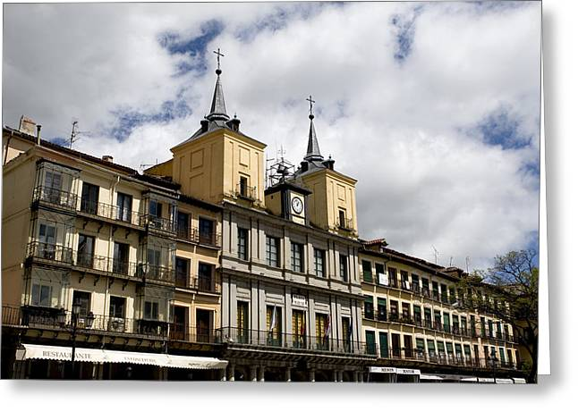 True Cross Greeting Cards - The Plaza Mayor Segovia Greeting Card by Lorraine Devon Wilke