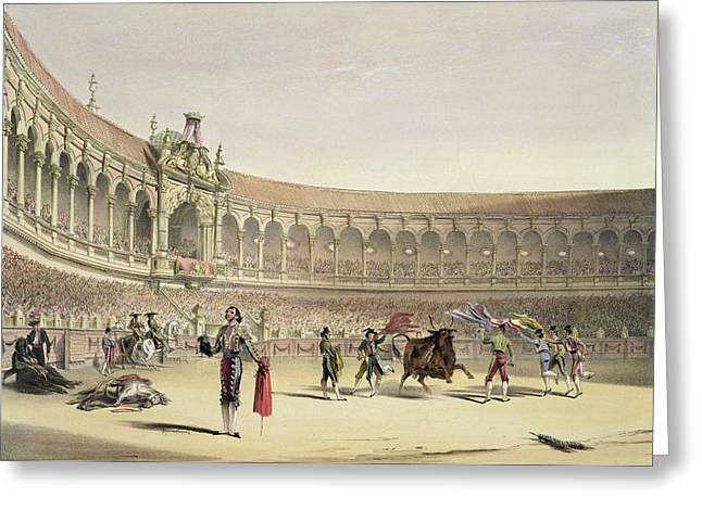 Bullfight Greeting Cards - The Plaza Of Seville, 1865 Greeting Card by William Henry Lake Price