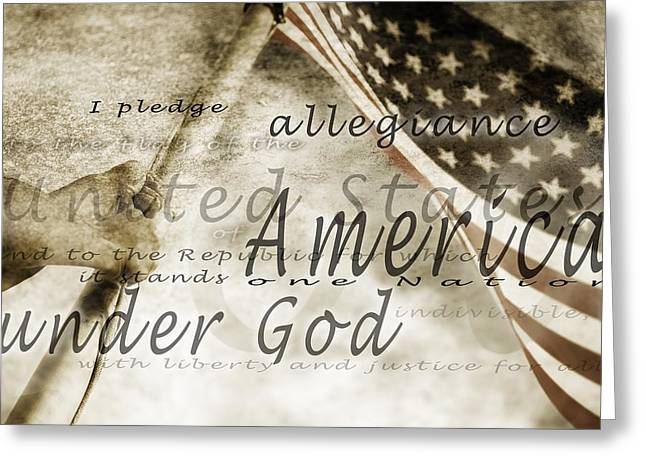 Mid-adult Greeting Cards - The Pledge Of Allegiance And An Greeting Card by Chris and Kate Knorr