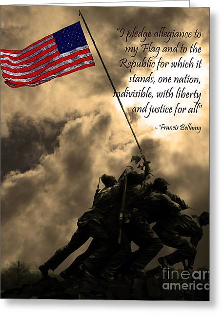4th July Digital Art Greeting Cards - The Pledge of Allegiance - Iwo Jima 20130211v2 Greeting Card by Wingsdomain Art and Photography