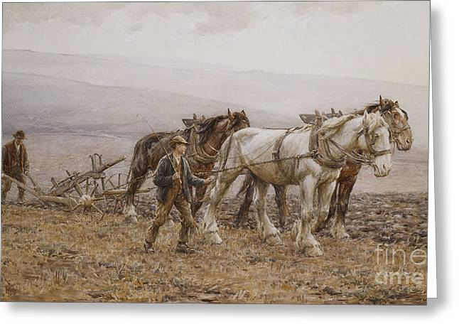 Pulling Greeting Cards - The Ploughman Wilmington Polegate Near Eastbourne Greeting Card by Joseph Harold Swanwick