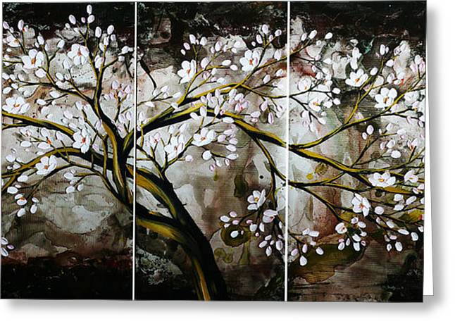 Cherry Blossoms Paintings Greeting Cards - The plum blossom 001 Greeting Card by Willson Lau