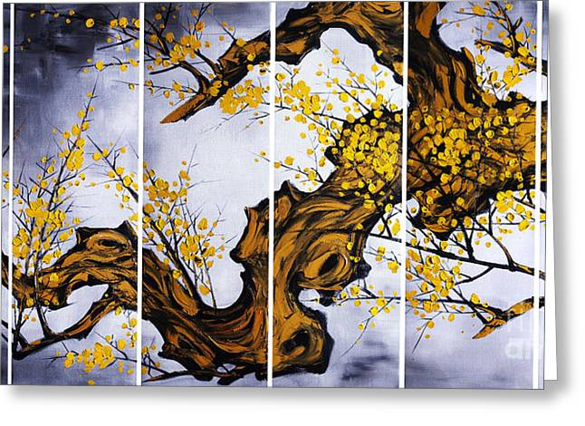 Cherry Blossoms Paintings Greeting Cards - The Plum Blossom 004 Greeting Card by Willson Lau
