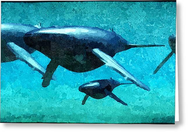 Ocean Mammals Greeting Cards - The Pod... Greeting Card by Tim Fillingim