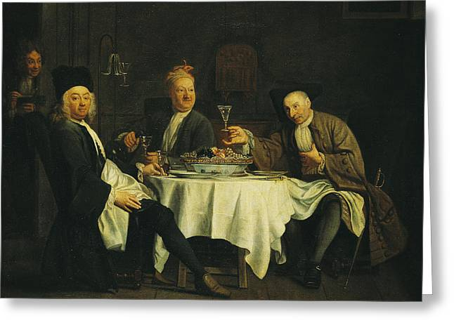 Writer Greeting Cards - The Poet Alexis Piron 1689-1773 At The Table With His Friends, Jean Joseph Vade 1720-57 And Charles Greeting Card by Etienne Jeaurat