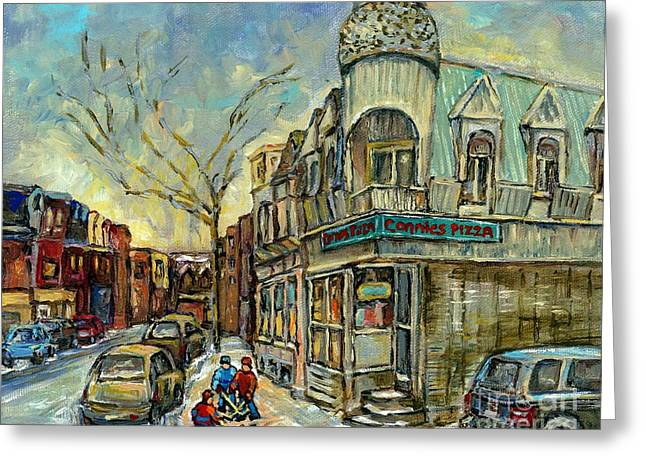 Verdun Pizza Greeting Cards - The Point Hockey Game Connies Pizza Winter Scene Paintings Montreal Art Carole Spandau Greeting Card by Carole Spandau