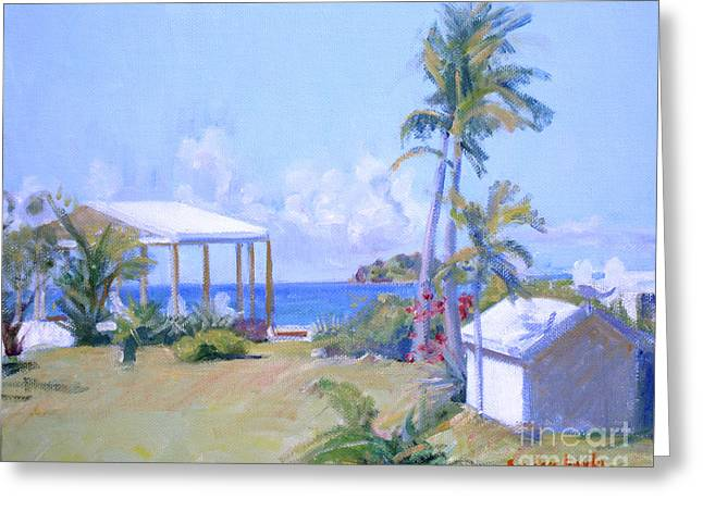 Saba Rock Greeting Cards - The Point Morning Light Greeting Card by Candace Lovely