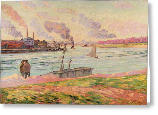 Docked Sailboats Greeting Cards - The Pointe dIvry Greeting Card by Jean Baptiste Armand Guillaumin