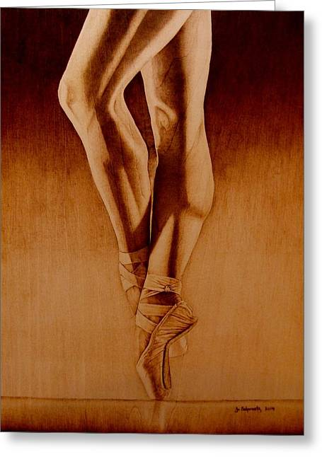 Ballerinas Pyrography Greeting Cards - The Pointe Greeting Card by Jo Schwartz