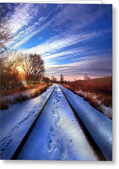 Train Photography Greeting Cards - The Polar Bear Express Greeting Card by Phil Koch