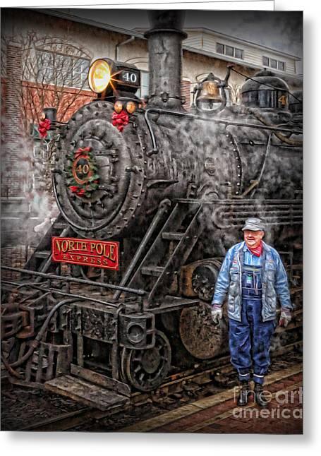Nicholas Greeting Cards - The Polar Express - Steam Locomotive VI Greeting Card by Lee Dos Santos