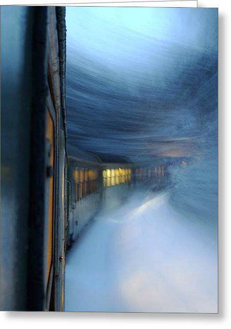 Recently Sold -  - Winter Storm Greeting Cards - The Polar Express Greeting Card by Svetlin Marinov
