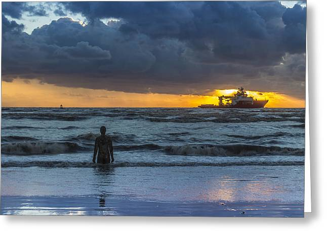 Ironman Greeting Cards - The Polar King from Crosby Beach Greeting Card by Paul Madden