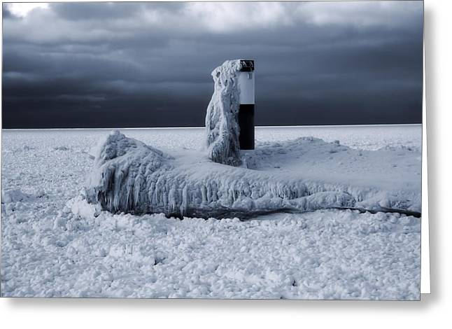 The Great Lakes Greeting Cards - The Polar Vortex Freezes The Great Lakes Greeting Card by Dan Sproul
