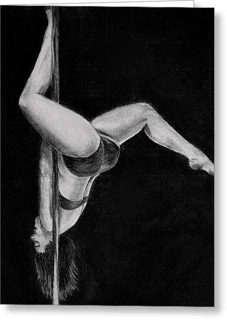 Inversion Greeting Cards - The Pole Dancer Greeting Card by Nadia Vanilla
