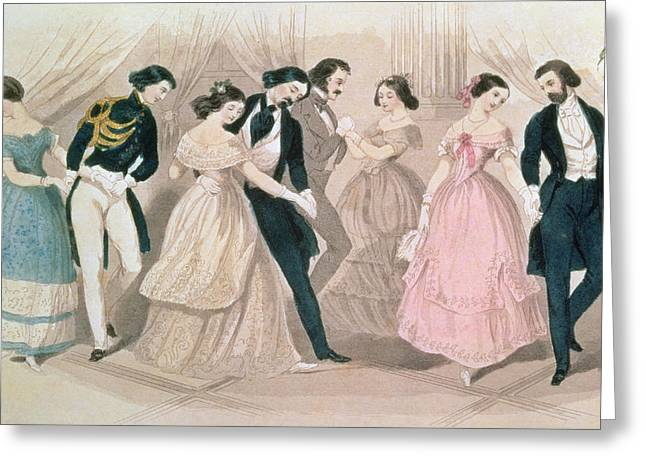 The Ball Greeting Cards - The Polka Fashions Greeting Card by English School