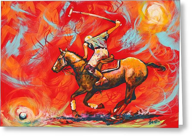 Eve Wheeler Greeting Cards - The Polo Player Greeting Card by Eve  Wheeler