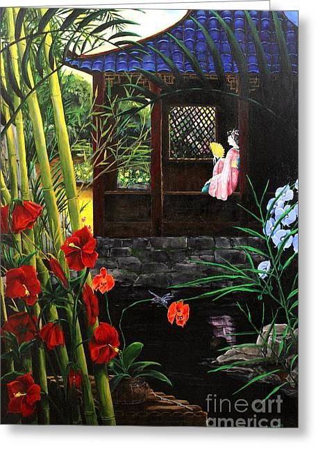 Best Sellers -  - Bamboo House Greeting Cards - The Pond Garden Greeting Card by D L Gerring