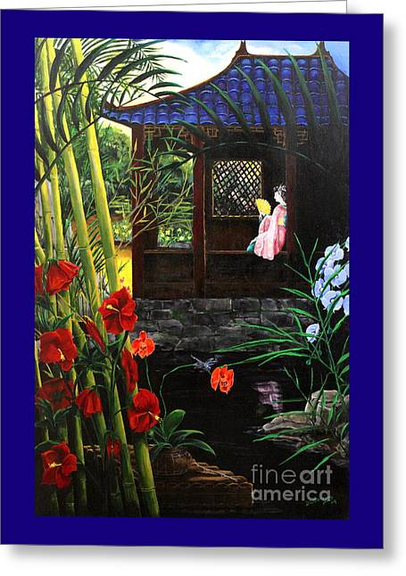 Bamboo House Greeting Cards - The Pond Garden Greeting Card by D L Gerring