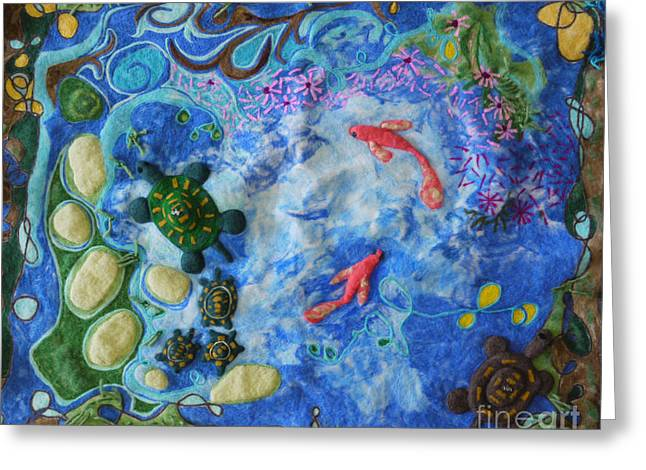 Pond Tapestries - Textiles Greeting Cards - The Pond Greeting Card by Heather Hennick