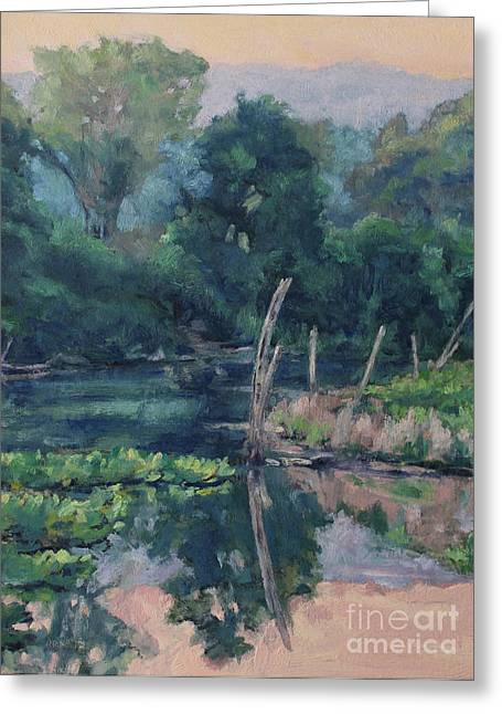 Gregory Arnett Paintings Greeting Cards - The Ponds Edge Greeting Card by Gregory Arnett