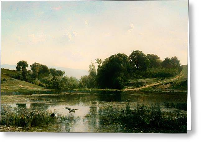 Bird On Tree Greeting Cards - The Ponds of Gylieu Greeting Card by Francois Daubigny