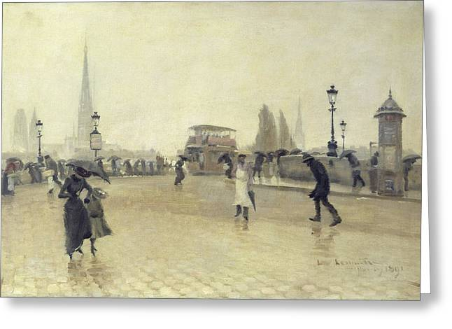 Windy Greeting Cards - The Pont Corneille, Rouen, 1891 Oil On Canvas Greeting Card by Leon Lemaitre