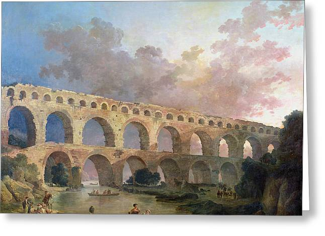 Roman Photographs Greeting Cards - The Pont Du Gard, Nimes, C.1786 Oil On Canvas Greeting Card by Hubert Robert