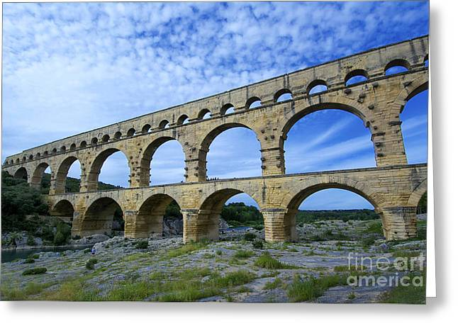 Languedoc Greeting Cards - The Pont du Gard.France Greeting Card by Bernard Jaubert