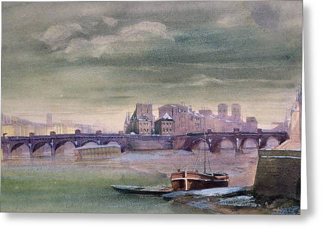 Levis Greeting Cards - The Pont-Neuf and the Ile de la Cite Greeting Card by Henri Jean-Baptiste Levis