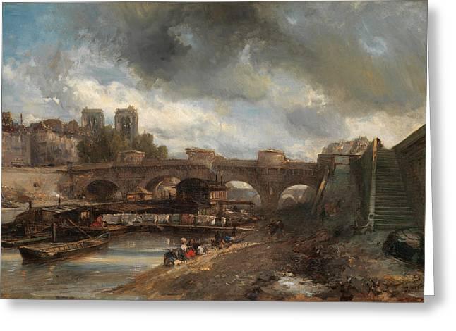 Johan Greeting Cards - The Pont Neuf Greeting Card by Johan Barthold Jongkind