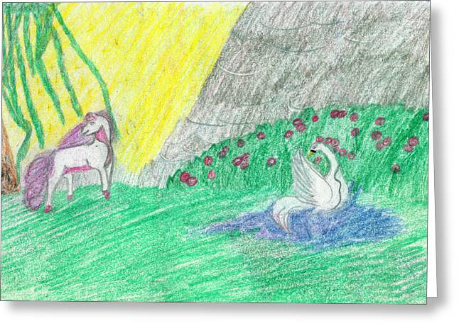 Fantasy World Drawings Greeting Cards - Swan Well Greeting Card by Kd Neeley